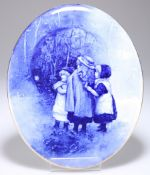 A ROYAL DOULTON BLUE AND WHITE CHILDREN SERIES WALL PLAQUE