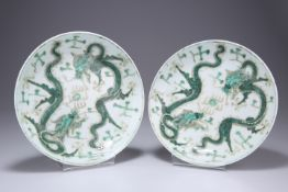 A PAIR OF CHINESE FAMILLE VERTE PORCELAIN DISHES