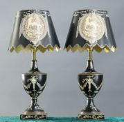 A PAIR OF PERIOD STYLE TOLE TABLE LAMPS