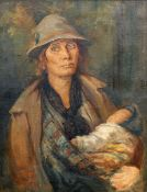 19TH CENTURY SCHOOL, MOTHER WITH BABY IN ARMS