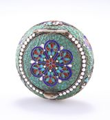 A RUSSIAN SILVER AND ENAMEL PILL BOX
