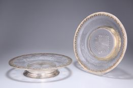 A PAIR OF FRENCH SILVER-MOUNTED GLASS DISHES