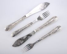 A SET OF VICTORIAN SILVER FISH KNIVES AND FORKS