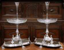 A HANDSOME PAIR OF 19TH CENTURY SILVER-PLATED CENTREPIECES