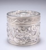 A CHINESE EXPORT SILVER BOX AND COVER