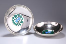 A RARE PAIR OF DANISH SILVER AND ENAMEL BOWLS