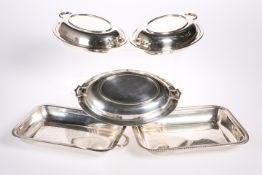 A GROUP OF FOUR SILVER-PLATED ENTREE DISHES