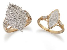 TWO 9 CARAT GOLD DIAMOND NAVETTE RINGS