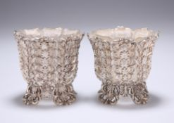 A PAIR OF VICTORIAN 'GOTHIC' SILVER SALTS