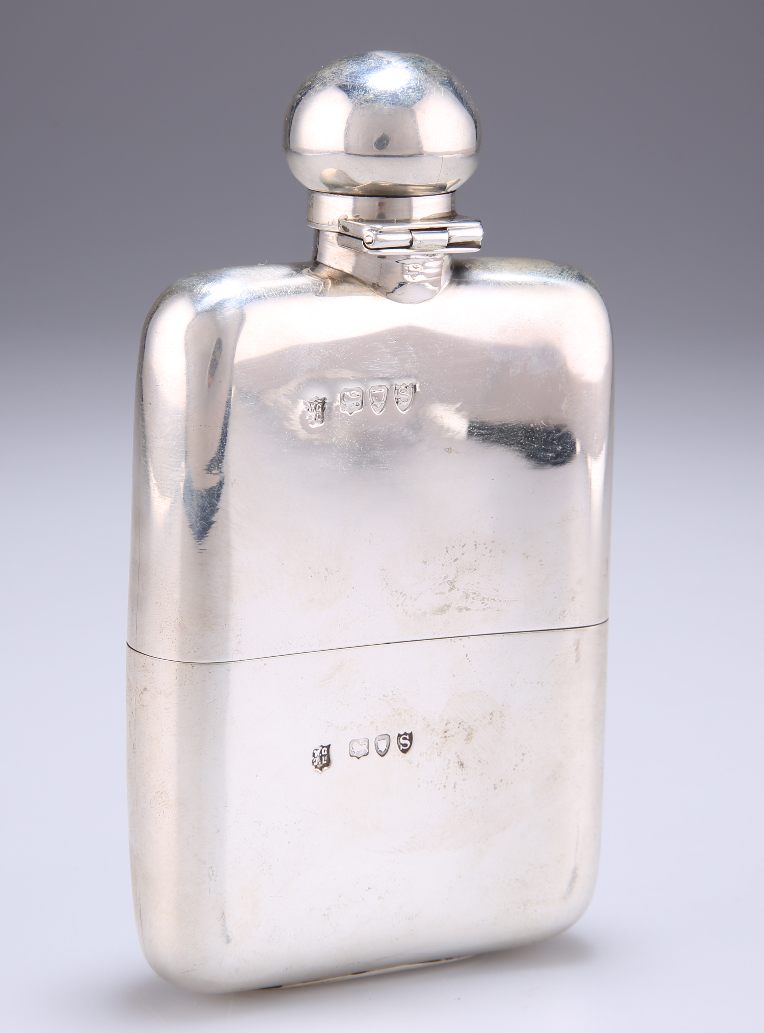 A VICTORIAN SILVER HIP FLASK AND CUP - Image 2 of 2
