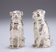 A PAIR OF SILVER-PLATED NOVELTY PEPPER POTS