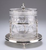 A VICTORIAN SILVER-PLATED AND CUT-GLASS BISCUIT BARREL