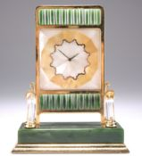 A ROCK CRYSTAL AND NEPHRITE JADE CLOCK, IN THE MANNER OF CARTIER