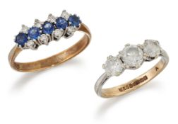 A 9 CARAT GOLD SAPPHIRE AND DIAMOND RING