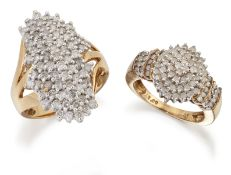 A 9 CARAT GOLD DIAMOND CLUSTER RING AND A DIAMOND NAVETTE RING