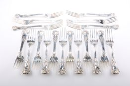 A FINE SET OF EIGHTEEN GEORGE III SILVER TABLE FORKS