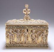 A GERMAN ARCHEOLOGICAL REVIVAL PARCEL-GILT SILVER CASKET