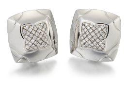 BULGARI: A PAIR OF DIAMOND 'PYRAMID' CLIP EARRINGS
