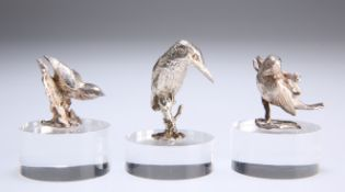 A GROUP OF THREE ELIZABETH II SILVER BIRD MODELS