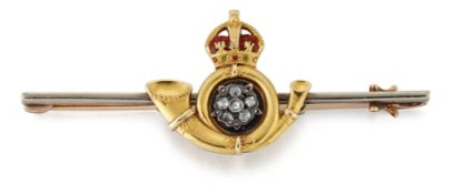 A DIAMOND AND ENAMEL KING'S OWN YORKSHIRE LIGHT INFANTRY SWEETHEART BROOCH