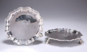 A PAIR OF GEORGE II SILVER WAITERS
