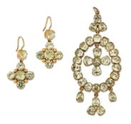 A CHRYSOBERYL PENDANT AND A MATCHED PAIR OF CHRYSOBERYL AND SYNTHETIC GREEN SPINEL EARRINGS