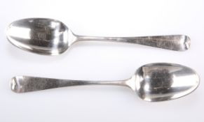 A PAIR OF GEORGE II SILVER TABLESPOONS