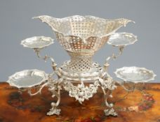 A LARGE EDWARDIAN SILVER TABLE EPERGNE