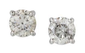 A PAIR OF DIAMOND SINGLE-STONE STUD EARRINGS