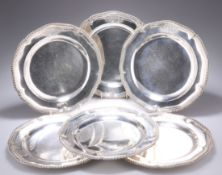 A FINE SET OF SIX GEORGE III SILVER DINNER PLATES
