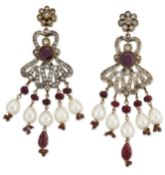 A PAIR OF INDIAN RUBY, PASTE AND CULTURED PEARL DROP EARRINGS