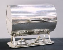 A LARGE 19TH CENTURY SILVER-PLATED PLATE WARMER
