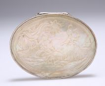 A CONTINENTAL WHITE-METAL AND MOTHER-OF-PEARL SNUFF BOX