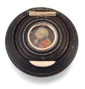 A STAINED IVORY PORTRAIT MINIATURE SNUFF BOX