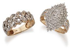 A 9 CARAT GOLD DIAMOND NAVETTE RING