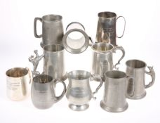 A QUANTITY OF SILVER PLATE AND PEWTER TANKARDS