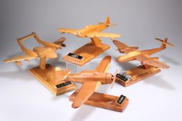 FOUR WOODEN HAND CARVED AVIATION MODELS