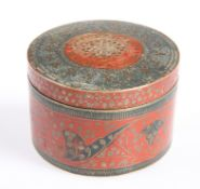 AN EASTERN ENAMELLED BRASS CIRCULAR BOX AND COVER