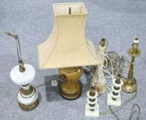 A GROUP OF SIX TABLE LAMPS
