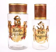 TWO 19TH CENTURY PAINTED GLASS APOTHECARY JARS