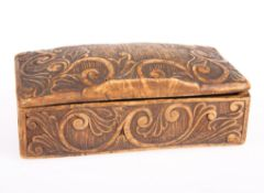 A CONTINENTAL CARVED WOOD SNUFF BOX