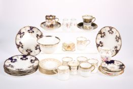 FIVE WEDGWOOD PORCELAIN COFFEE CANS AND SIX SAUCERS