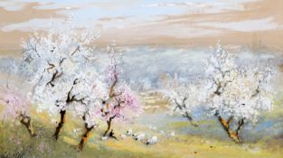 WILLIAM MILLER, SHEEP AND A FLAUTIST IN A BLOSSOM FILLED LANDSCAPE