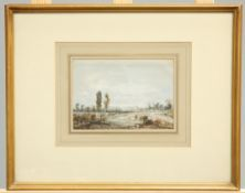 FRENCH SCHOOL (19TH CENTURY), LANDSCAPE WITH A DISTANT CHURCH WATERCOLOUR