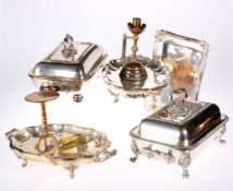 A LARGE COLLECTION OF SILVER-PLATE AND METALWORK