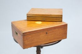 A BRASS-MOUNTED OAK CANTEEN BOX AND OTHERS