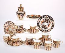 SIX ROYAL CROWN DERBY OLD IMARI PATTERN PORCELAIN COFFEE CANS AND SAUCERS