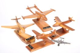FOUR WOODEN AVIATION MODELS
