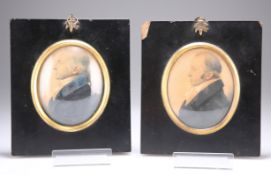 A PAIR OF EARLY 19TH CENTURY PORTRAIT MINIATURES ON PAPER