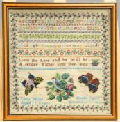 A 19TH CENTURY ALPHABET AND VERSE BEADWORK SAMPLER, WORKED BY LUCY HUKE OF NORTH CAVE, AGED 11 YEARS